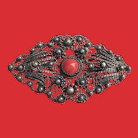 C.1930 Large European Asian 800 Silver Cannetille Coral Pin Brooch