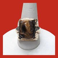 Art Deco 10K Diamond Carved Tiger Eye CAMEO Warrior Ring