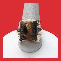 Art Deco 10K Diamond Carved Tiger Eye CAMEO Warrior Ring
