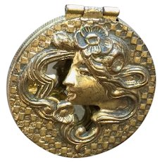 Art Nouveau Repousse Gold Gilt Flowing Hair Woman Compact Mirror Hat Pin