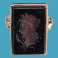 Art Deco 14K Rose Gold Carnelian Intaglio Ring 7.5