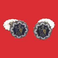 Art Deco Enamel Silver Metal Knights of Pythias CUFFLINKS
