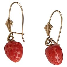 Antique 14K Gold Carved Coral STRAWBERRY Pierced Dangle Earrings