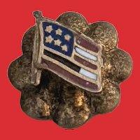 C.1900 Patriotic 10K Gold Enamel US FLAG Lapel Pin