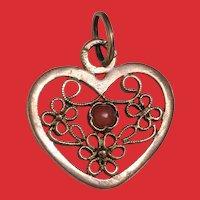 14K Rose Gold Cannetille Filigree Salmon CORAL Heart Pendant