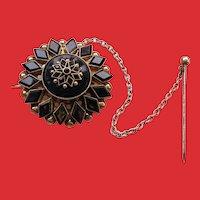 Victorian 10K Rose Gold ONYX Starburst Mourning Pin Brooch
