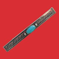 Native American Silver Pawn Turquoise Raindrops Pin