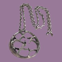 COOL Modernist Brutalist Sterling Silver Pendant Necklace