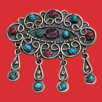Vintage Mexican Sterling Silver Turquoise Coral Amethyst Pendant Pin Dangles