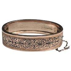 Victorian Rose Gold Fill Taille d'Epergne Enamel Bangle Bracelet DATED 1872