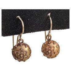 14K Gold Victorian Etruscan Revival Drop Earrings