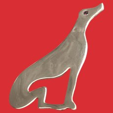 Large Brass Art Deco GREAT DANE Borzoi Greyhound Pin