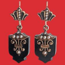 14K Victorian Carved Black Onyx Seed Pearls Enamel Drop Earrings MOURNING
