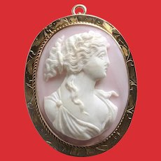 10K Victorian High Relief Angel Skin CORAL Carved Cameo Pin Pendant