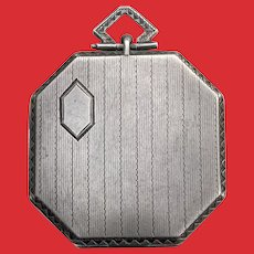 Octagon Shape Art Deco Silver Photo LOCKET