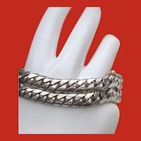 HEFTY Sterling DOUBLE Cuban Curb Link Bracelet 7.5 Inches