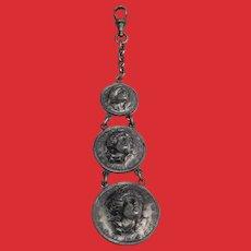RARE Vest Watch Chain Pop Out Liberty Head Faux 1914 1913 Coins