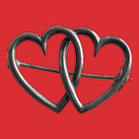 Victorian Sterling Double HEART Pin