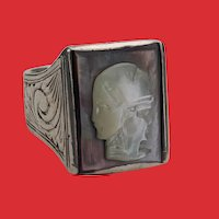 Art Deco Silver Carved Mother of Pearl GRYLLUS 3 Cameo Ring