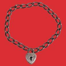 Antique Sterling PADLOCK Bracelet for Child Baby