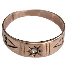 Victorian 10K Rose Gold ROSE CUT Diamond Ring Baby Child