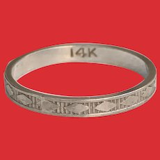 RARE Art Deco 14K White Gold Patterned Baby Ring Band