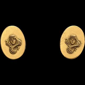 Art Nouveau Woman Flowing Hair Gold Filled Cufflinks
