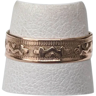 Dated 1878 Victorian ROSE Gold Baby Band Ring Shamrocks