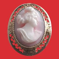 Edwardian 10K Filigree Angel Skin CORAL Carved Cameo Pin Pendant