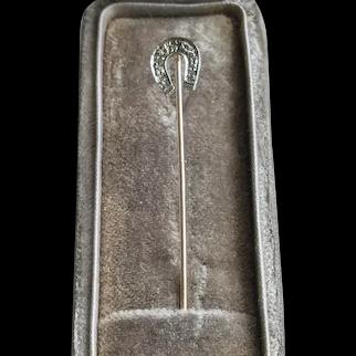 Art Deco 10K Gold DIAMOND Horseshoe Stick Pin Equestrian Stickpin
