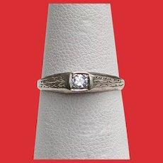 Art Deco 14K White Gold Diamond Solitaire Ring