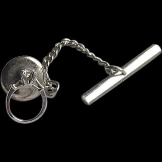 10K White Gold Diamond Engagement Ring Tie Tack Lapel Pin