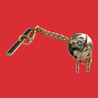 Vintage 10K Gold Diamond WISHBONE Tie Tack Lapel Pin