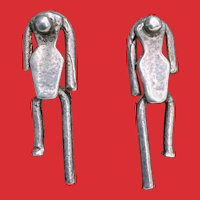 FABULOUS Studio Made Sterling Stick Person Earrings
