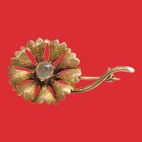 Victorian Yellow Gold MOONSTONE Flower Pin Brooch