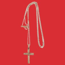 Art Deco 10K Rose Gold Cross Pendant Necklace ESEMCO