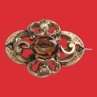 Gorgeous GEORGIAN Pinchbeck Citrine Pin Brooch