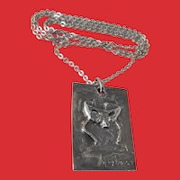 Artist Signed 800 Silver Masquerade Mask Pendant Necklace