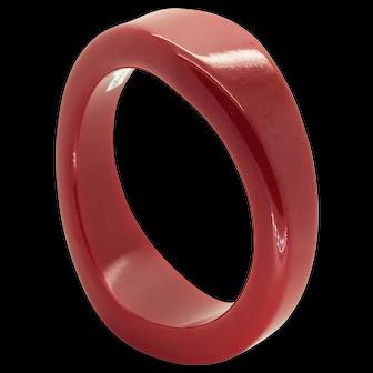 Vintage High gloss, Asymmetrical Chunky Cherry Red Bakelite Bangle. Just Gorgeous.