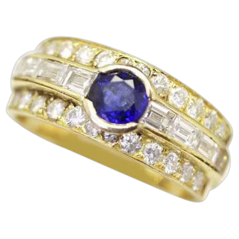 French Royal Blue Sapphire Ring Band with Diamonds, Fabulous and Easy to Wear