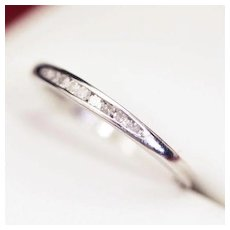 Lovely Diamond and Platinum Half Eternity Ring, Wedding Band, with 9 Channel Set Diamonds