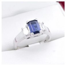 Sapphire and Diamond baguette cut engagement ring, White Gold Sapphire ring