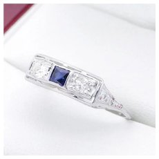 "Art Deco Style, Vintage Diamond Sapphire and Diamond Filigree Ring in ""18K"" White Gold, Stunning Wedding Band, Engagement Ring"