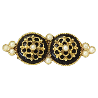 Antique C1900's Handmade 14k Gold Onyx and Natural Seed Pearl brooch