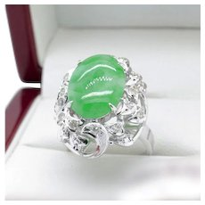 Recent Jade Cabochon and Diamond Cocktail Ring in White Gold, 5.93 tcw