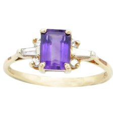 "Amethyst ring with Baguette cut VS/G Diamonds in ""14 karat"" Yellow Gold, Estate age"