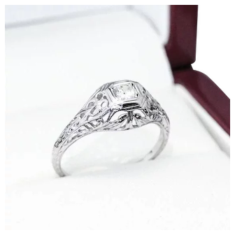 "Beautiful Vintage Diamond and ""18k"" White Gold Filigree Engagement Ring"