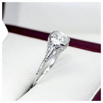 "Old European Cut Diamond and ""18K"" White Gold Engagement Ring"