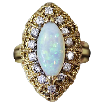 Mad Men Era Vintage Marquise shape Opal and Diamond Cocktail ring, Cluster ring.