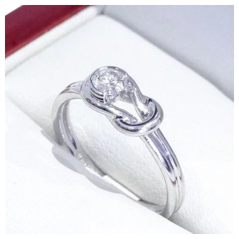 "Very Lovely Knot Style, Vintage ""14k"" White Gold Engagement Ring, Featuring a Brilliant Cut Diamond"